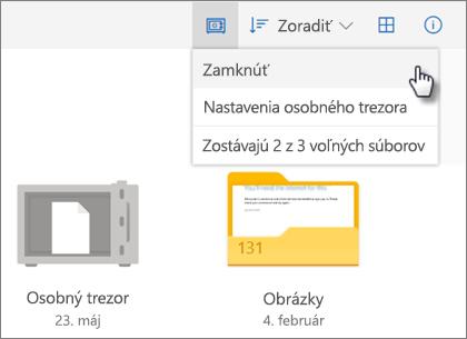 Snímka obrazovky zamykania osobného trezoru vo Onedrive