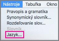 Ponuka Office pre Mac pre jazykové nástroje