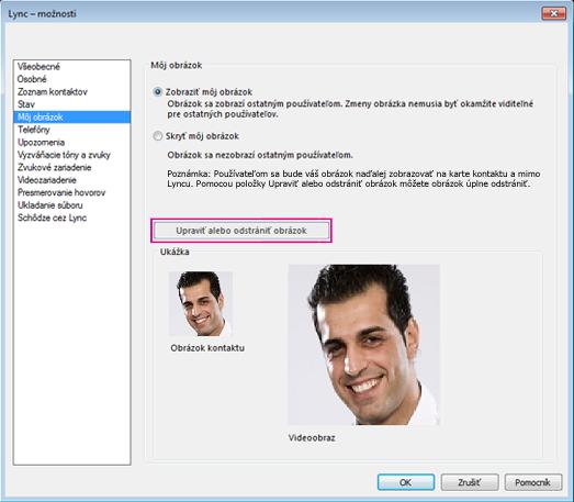 Snímka obrazovky s oknom s možnosťami Môj obrázok so zvýrazneným tlačidlom Upraviť alebo zmeniť obrázok