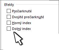 Výber horného alebo dolného indexu