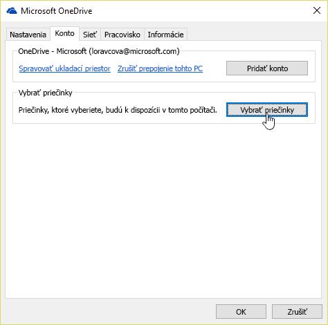 Snímka obrazovky znázorňujúca kurzor nad tlačidlom Vybrať priečinky na karte Konto v ponuke nastavení vo OneDrive.
