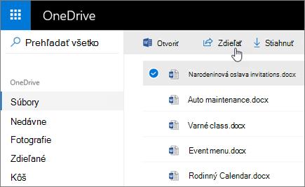 Snímka obrazovky svybratým súborom atlačidlom Zdieľať voOneDrive.