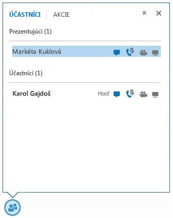 Snímka obrazovky s ikonami vedľa mena účastníka, ktoré označujú dostupnosť možností okamžitých správ, zvuku, videa a zdieľania