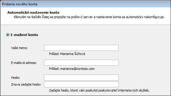 Pridanie mena a e-mailovej adresy do Outlooku 2010