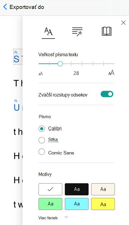 Dialógové okno predvolieb textu v imerznej čítačke v aplikácii Microsoft Lens pre iOS.