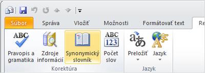 Ikona synonymického slovníka na páse s nástrojmi Outlooku