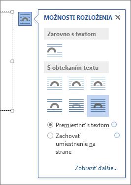 Možnosti rozloženia textového poľa