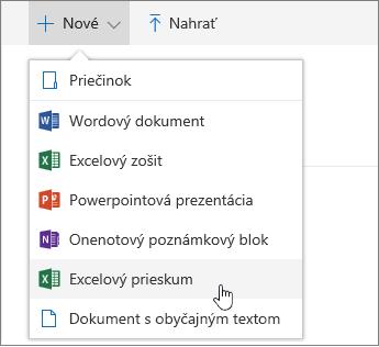 Ponuka Nové, príkaz Excelový prieskum