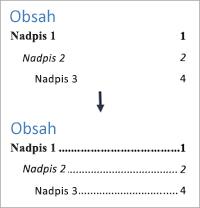 Zobrazuje pridanie vodiacich znakov vo forme bodiek do obsahu