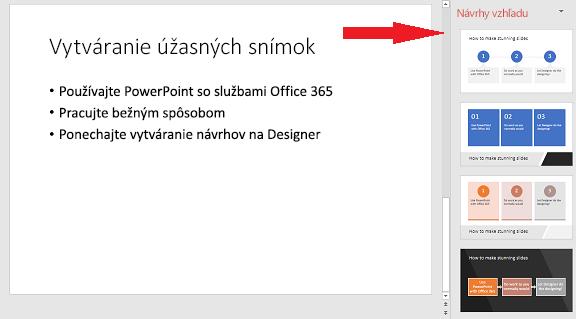 Ukážka základnej snímky, ktorú PowerPoint Designer dokáže zmeniť na grafický prvok