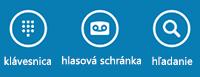 Pomocou ikon vdolnej časti obrazovky môžete zobraziť klávesnicu na vytáčanie, skontrolovať hlasovú schránku alebo vyhľadávať kontakty