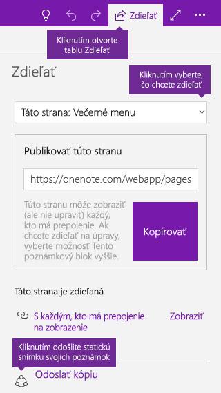 Snímka obrazovky odoslania kópie poznámok z OneNotu