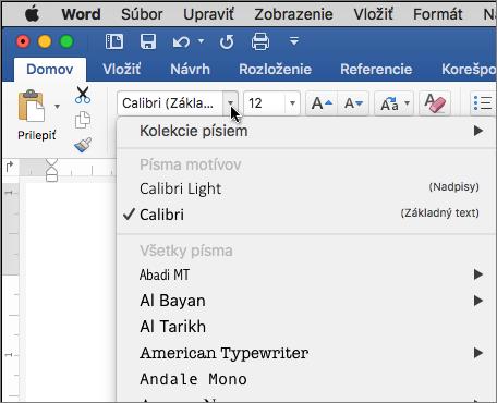 Kliknite na písmo rozbaľovacieho zoznamu v programe Word, ak chcete zmeniť písmo textu.