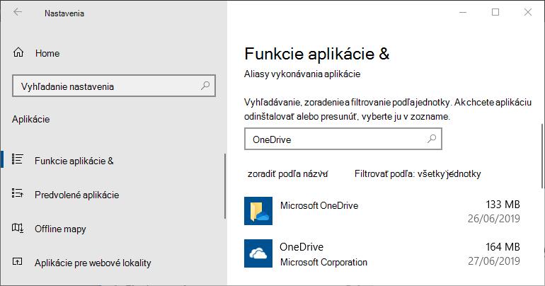 OneDrive v nastaveniach aplikácií vo Windowse