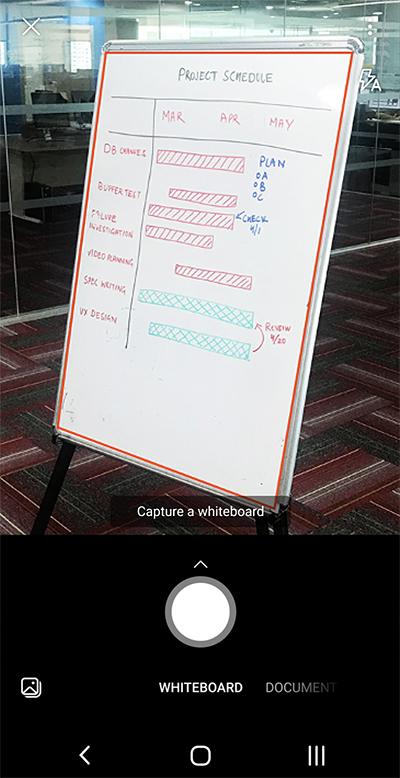 Snímka obrazovky z aplikácie Microsoft Lens v telefóne s Androidom
