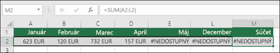 Príklad chyby #NEDOSTUPNÝ vbunkách, čo zabraňuje vzorcu SUM vsprávnom výpočte.