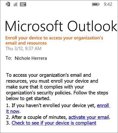 E-mailová správa oregistrácii vo Windows Phone