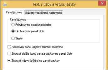 Office 2016, Windows 8 – Textové služby avstupné jazyky