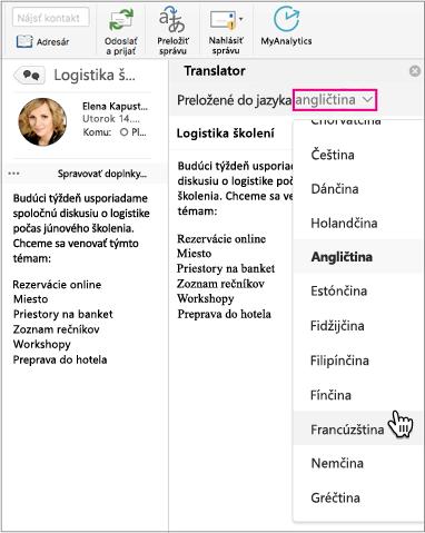 Výber jazyka, do ktorého chcete preložiť správu, pomocou rozbaľovacieho zoznamu