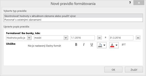 Snímka obrazovky s novým rozhraním pravidla formátovania