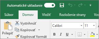 Záhlavie okna v Exceli zobrazujúce položku Prepínanie automatického ukladania