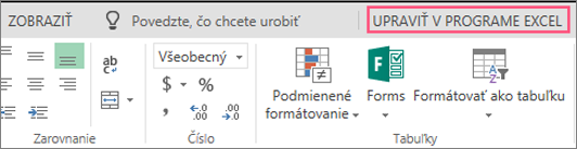 Tlačidlo Otvoriť v programe Excel