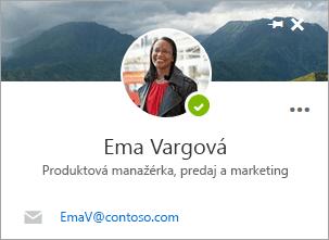 Snímka obrazovky s kartou kontaktu na stránke Ľudia.