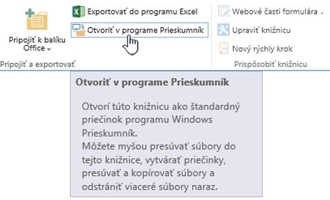 Možnosť Otvoriť vPrieskumníkovi vSharePointe 2016 otvorenom vInternet Exploreri 11