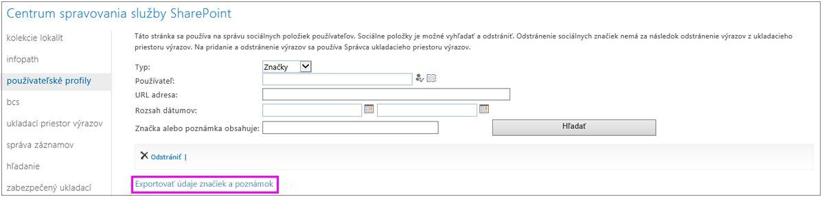 Snímka obrazovky so zvýrazneným prepojením na export