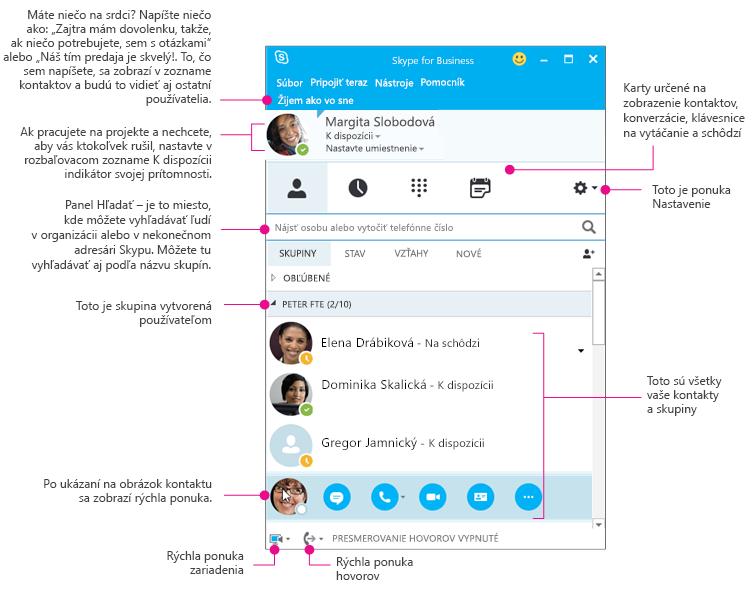 Okno kontaktov v Skype for Business, ktoré je súčasťou diagramu