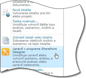 Program SharePoint Designer 2010 v ponuke Akcie lokality