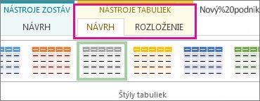 Skupina Štýly tabuliek na karte Návrh v časti Nástroje tabuliek