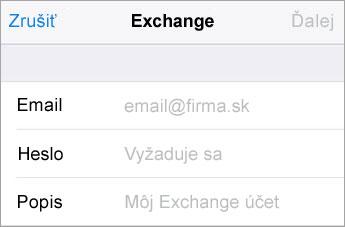 Prihlásenie cez Exchange