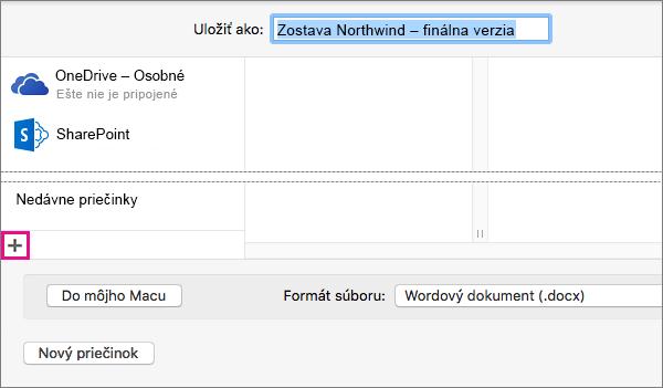 Ak chcete pridať online službu, kliknite na znamienko plus v dolnej časti ľavého stĺpca v dialógovom okne Uložiť ako.