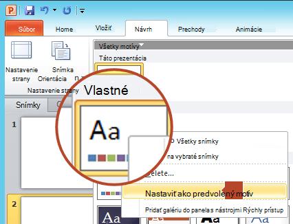 Kliknite pravým tlačidlom myši na nový motív zobrazený pod nadpisom Vlastné a potom vyberte položku Nastaviť ako predvolený motív.