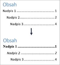 Zobrazuje zobrazenia pred a po formátovacích štýlov textu v obsahu