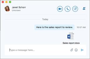 Okno konverzácie s priloženým súborom