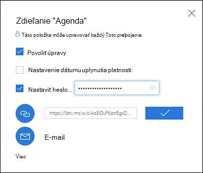 Snímka obrazovky smožnosťou Získať prepojenie vdialógovom okne Zdieľať vo OneDrive