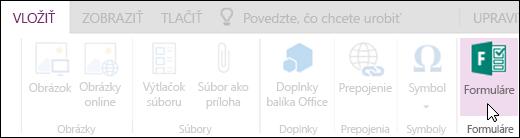 Možnosť Vložiť formulár vo OneNote Online.
