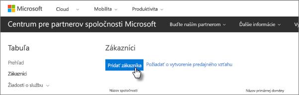 V Centre pre partnerov spoločnosti Microsoft pridajte nového zákazníka.