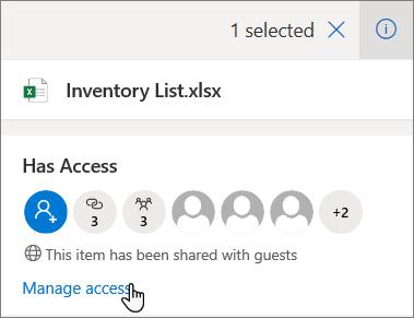 Tabla s podrobnosťami vo OneDrive for Business so zobrazením prepojenia Spravovať prístup