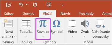 Zobrazuje tlačidlo na vloženie rovnice na páse snástrojmi vPowerPointe