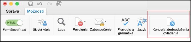 Snímka obrazovky používateľského rozhrania v Outlooku na otvorenie kontroly zjednodušenia ovládania