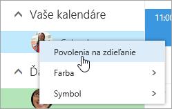 Snímka obrazovky s kontextovou ponukou pre položku Váš kalendár s vybratou položkou Povolenia na zdieľanie.