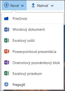 Vytvorenie nového súboru v knižnici dokumentov v službách Office 365