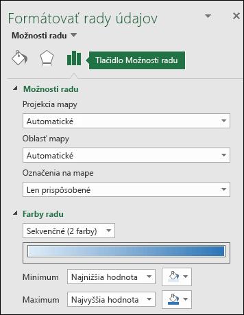 Možnosti radu pracovnej tably Formátovanie objektov v kartograme v Exceli