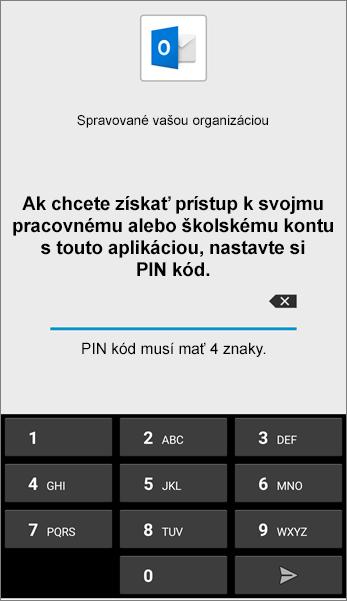 Nastavenie PIN kódu aplikácie Outlook v Androide