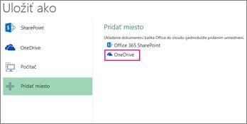 Možnosť Uložiť do služby OneDrive
