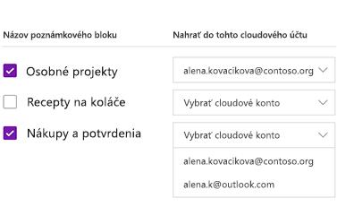 Nahrávanie poznámkových blokov do cloudového konta