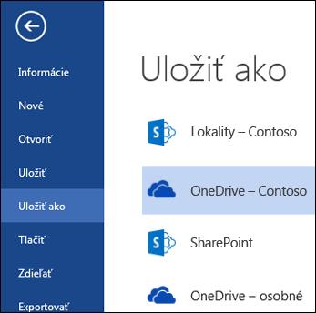 Priečinok OneDrive for Business počas otvárania alebo ukladania súboru